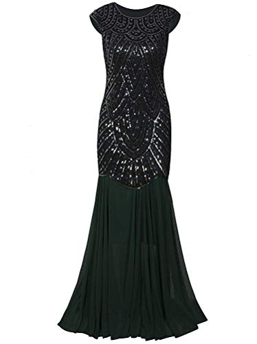 2004 Prom Dress - AAAA Womens 1920s Inspired Cap Sleeve Beaded Sequin Long Evening Prom Dress,X-Small,GreenandSilver