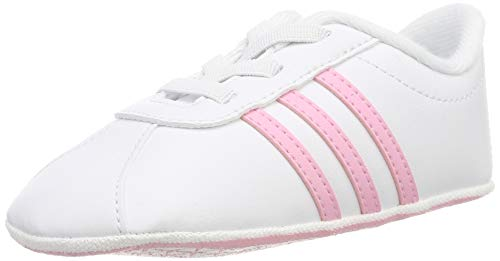 adidas Baby Shoes Crib Soft Leather VL Court Girls Sneakers Infant New (EU 20 - UK 4K - US 4K)