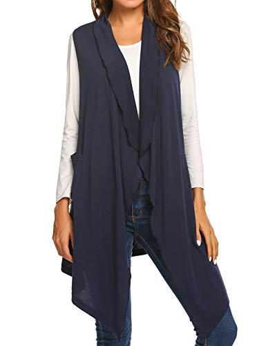 (Mofavor Women's Open Front Longline Duster Blazer Vest Sleeveless Long Vest Coat Pockets Navy Blue L)