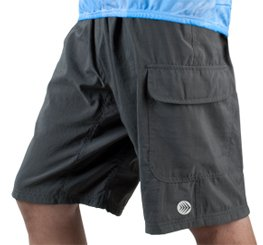 AERO|TECH|DESIGNS Men's ATD Cargo Short Baggy Padded Mountain Bike Cycling Shorts Charcoal Medium