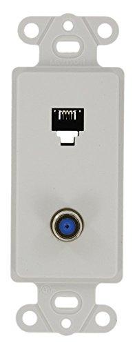 Decora Type Insert - Leviton 40659-W Decora Insert, 6P4C + F-Connector, Screw Terminals, White