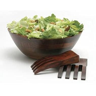 Lipper International Large Cherry Wavy Rim Bowl with Salad Hands