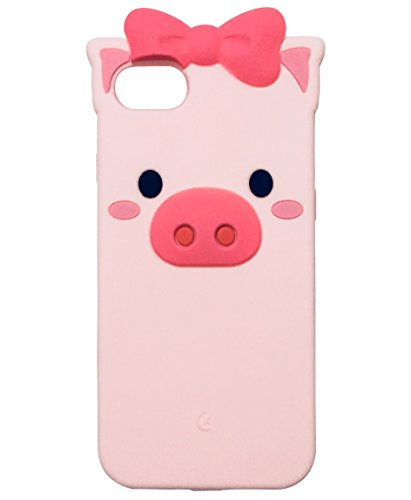 iPhone 8 Case, iPhone 7 Case, TopFunny iPhone 8 Silicone 3D Cute Bowknot Cartoon Animals Soft TPU Rubber Bumper Protective Gel Cover Shockproof Case for Apple iPhone 8/7 4.7 Pink Pig