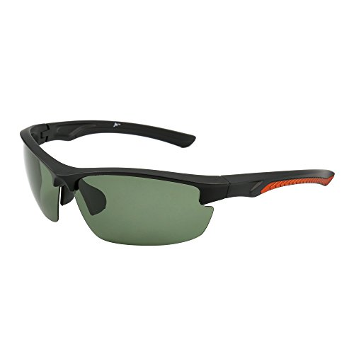 Sport Polarized Sunglasses Men Women Semi Rimless Cycling Running Fishing Golf Hiking (Matte Black / Polarized Green)