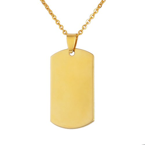 VALYRIA Stainless Steel Gold Rectangle Stamping Blank Charm Pendant Dog Tag Charm Necklace 4.2cmx2.3cm (Art Rectangle Charm Gold Plated)