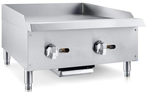 Chef's Exclusive CE785 Commercial Countertop Stainless Steel 24 inch Heavy Duty Manual Griddle Grill Natural Gas, 60,000 BTU per Hour 18KW, Metallic