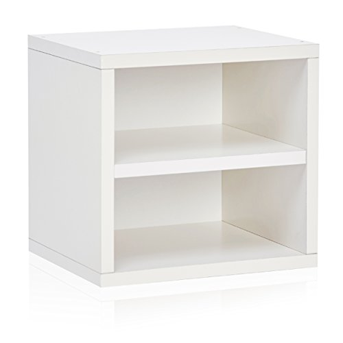Way Basics Eco Stackable Connect Storage Cube with Shelf and Cubby Organizer, White (made from sustainable non-toxic zBoard paperboard)