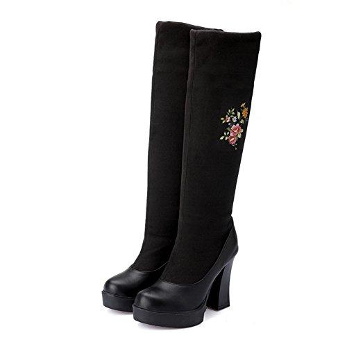 VogueZone009 Damen Hoher Absatz Bestickt Rund Zehe Blend-Materialien Ziehen auf Stiefel Schwarz