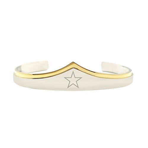 Superhero Couples Costumes Uk (Wonder Woman Silver Gold Cuff Bracelet Star Superhero DC Comics Gift for Her)
