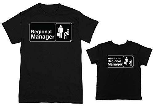 HAASE UNLIMITED Regional Manager/Assistant 2-Pack Toddler & Men's T-Shirt (Black/Black, X-Large/2T)