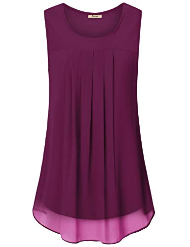 Double Layer Tunic - Timeson Summer Sleeveless Tank, Business Blouses for Women Chiffon Tank Tops Pleated Front Layers Swing Top Flowy Shirts for Shorts (Magenta, Medium)