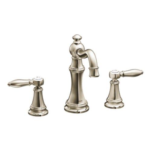 Moen TS42108NL Weymouth Two-Handle High Arc Bathroom Faucet, Nickel