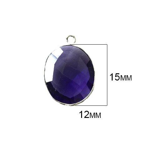 (4 Pcs Amethyst Oval Beads 12X15mm silver by BESTINBEADS, Amethyst Hydro Quartz Oval Pendant Bezel Gemstone Connectors over 925 sterling silver bezel jewelry making supplies)