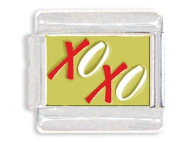 XOXO Hugs & Kisses Italian Charm Bracelet Link - Heart Kiss Italian Charm