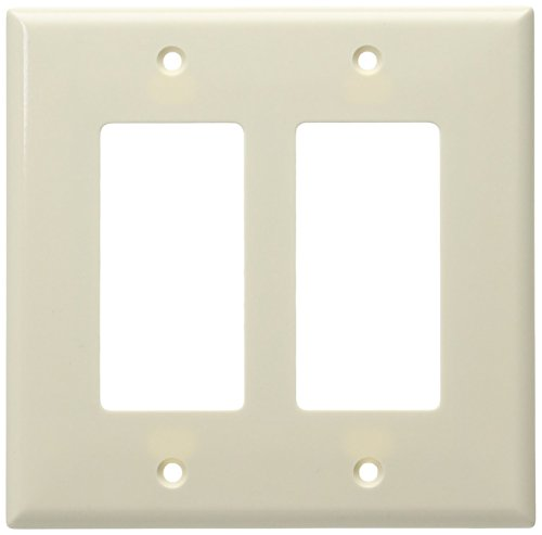 Eaton 2052LA Mid-Size 2-Gang Decorator GFCI Wall Plate with Box, Light Almond (2 Collectible Plate)