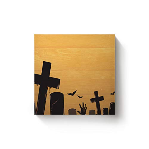 YEHO Art Gallery Square Canvas Wall Art Oil Painting Office Home Decor,The Yellow Cemetery Pattern for Halloween Artworks for Christmas,Stretched by Wooden Frame,Ready to Hang,28 x 28 Inch -