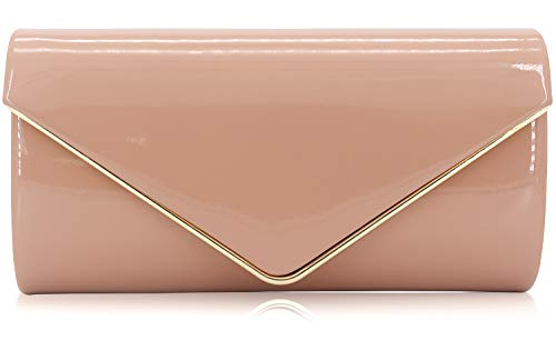 - Dexmay Patent Leather Envelope Clutch Purse Shiny Candy Foldover Clutch Evening Bag for Women Nude