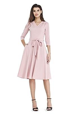 VILONNA Women's Elegant Modest 3/4 Sleeve V Neck Belted Semi Formal Midi Dress with Pockets