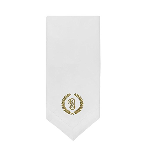 Qualibroid 4-Pack 100% Cotton Embroidered White Dinner Napkins - 20x20 - Hemstitched - Monogrammed - Gold Thread - Letter G