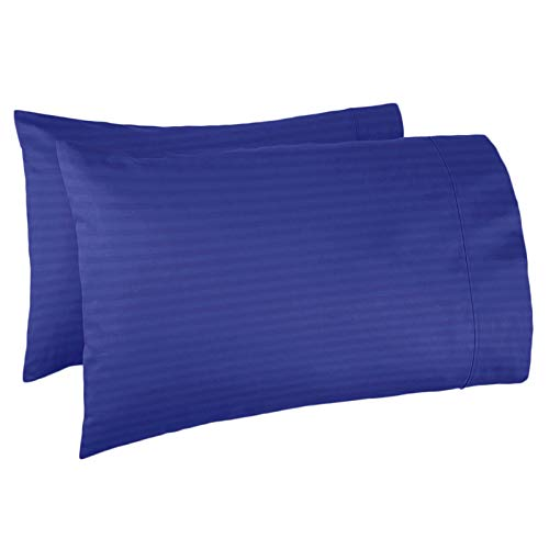 Nestl Bedding Soft Pillow Case Set of 2 - Double Brushed Microfiber Hypoallergenic Pillow Covers - 1800 Series Damask Dobby Stripe Pillow Cases, Standard/Queen - Royal Blue