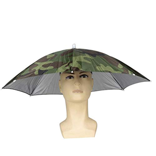 Sttech1 Fishing Hat Umbrella - Portable Foldable Sun Umbrella Fishing Hiking Golf Camping Headwear Cap Head Hats Outdoor (Army Green)