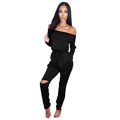 Longwu Women's Fashion Off-Shoulder Drawstring Jumpsuits Rompers Knee Hole Pants Black-XL from Longwu
