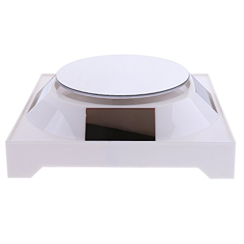 Homyl 1x Solar Showcase 360° Turntable Rotating Jewelry Watch Display Stand Holder - White Base & White Mirror Top, 12cm