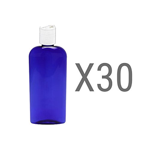 MoYo Natural Labs 8 oz Disc Cap Bottles, Empty Containers for Shampoo or Lotions, BPA Free PET Plastic Squeezable Toiletry/Cosmetic Bottles (Pack of 30, Blue color)
