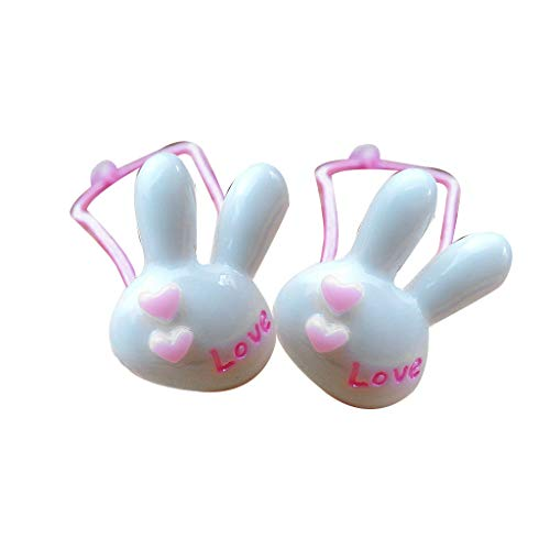 Huaxix 2Pcs/Pair Children Kids Elastic Hair Ropes Cute Cartoon Bunny Head Candy Color Ponytail Holder Carved Letters Thin Scrunchy (White)