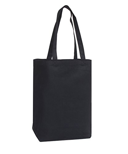 Large Blank Cotton Tote Bags (12 Pack) - 16 x 16 x 6 - 100% Cotton Canvas - White, Black, Natural Colors - Great for Party Favors, Gift Bags, Shopping & DIY Crafts
