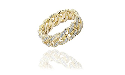 NYC Sterling Women's Sterling Silver Cubic Zirconia Curb Link Ring (Gold-Plated-Silver, 6)
