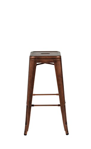 Commercial Seating Products MO-201-STOOL-BRUSHED-ROSE-GOLD Oscar Steel Backless Stool, Brushed Rose Gold by G and A Commercial Seating
