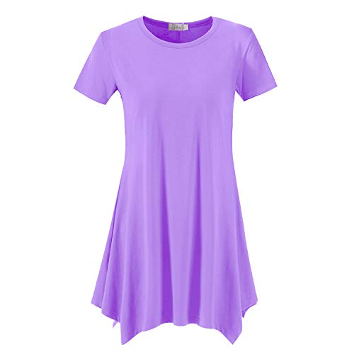 Topdress Women's Loose Fit Swing Shirt Casual Tunic Top for Leggings Lavender 2X -