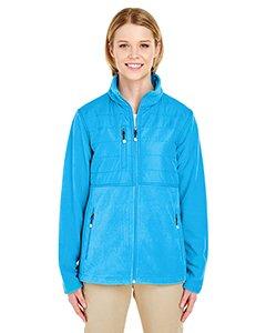 UltraClub Ladies' Fleece Jacket with Quilted Yoke Overlay M Kinetic Blue