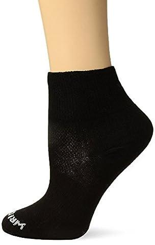 Wrightsock Men's Coolmesh II Quarter Single Socks, Black, Sock Size:10-13/Shoe Size: 6-12 - Anti Blister Double Layer Cool