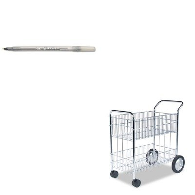 KITBICGSM11BKFEL40912 - Value Kit - Fellowes Wire Mail Cart (FEL40912) and BIC Round Stic Ballpoint Stick Pen (BICGSM11BK) (Fellowes Cart Mail Wire)