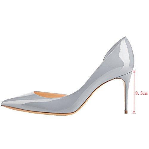 de de Zapatos EKS vestir Grau para Lackleder mujer Sintético Material q7Ztax