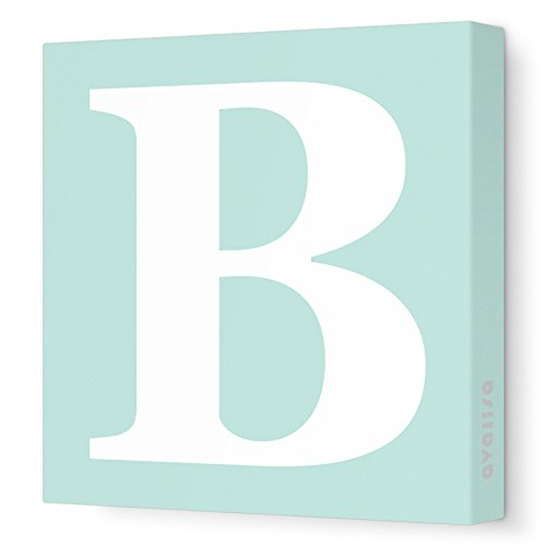 Avalisa Green - Avalisa Stretched Canvas Upper Letter B Nursery Wall Art, Seagreen, 12