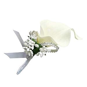 Prettyia Fancy Calla Berry Rhinestone Groom Bridal Bridesmaid Wedding Corsage Girls Prom Party Wrist Corsage 78