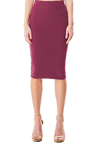 Women's Regular, Plus Size Knee Length Basic Stretch Bodycon Pencil Skirt Office Work (Small, Red Berry)