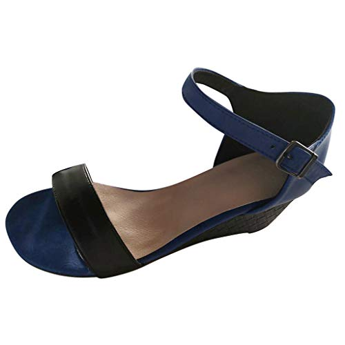Women One Band Classic Sandals Peep Toe Wedge Ankle Strap Buckle Vintage Contrast Strappy Heeled Sandals by Lowprofile Blue ()