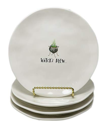 Rae Dunn By Magenta Set Of 4 WITCH'S BREW. & HOCUS POCUS. Script Melamine Cauldron Icon 8'' Plates by Rae Dunn