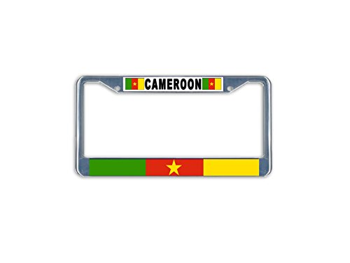 Cameroon Flag Metal License Plate Frame Holder Chrome