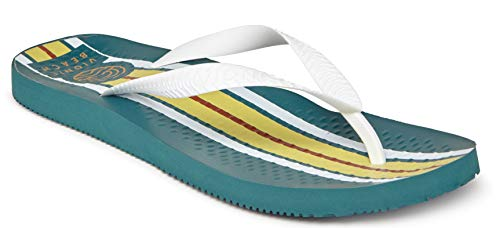 - Vioinc Men's Beach Manly Flip-Flop Sandal - Mens Thong Sandals with Concealed Orthotic Arch Support Deep Teal Stripe 12 M US
