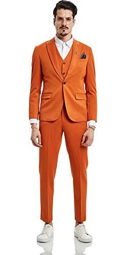 PIZOFF Mens Slim Fit 3 Piece Suit One Button Single Breasted Stylish Blazer Vest Suit Pant Formal -