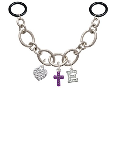 Crystal Loop Cross (Small Purple Crystal Cross - E - Initial Charm Necklace for Stethoscope)
