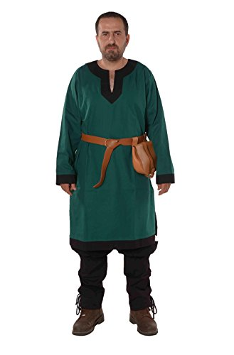 Arthur Medieval, Viking, LARP and Tunic   - Made in Turkey by bycalvina,Forest Green / Black,XX  -Large