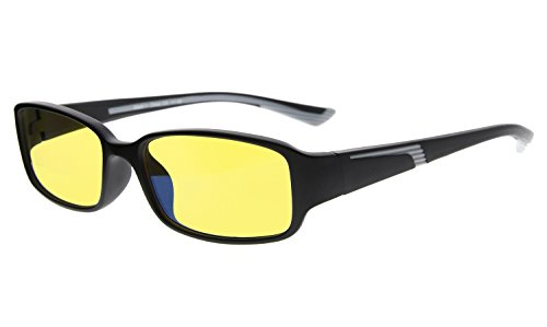 Eyekepper 94% Blue Light Blocking Readers, Yellow Tinted Lens Computer Glasses (Black/Grey Arm - Readers Tinted