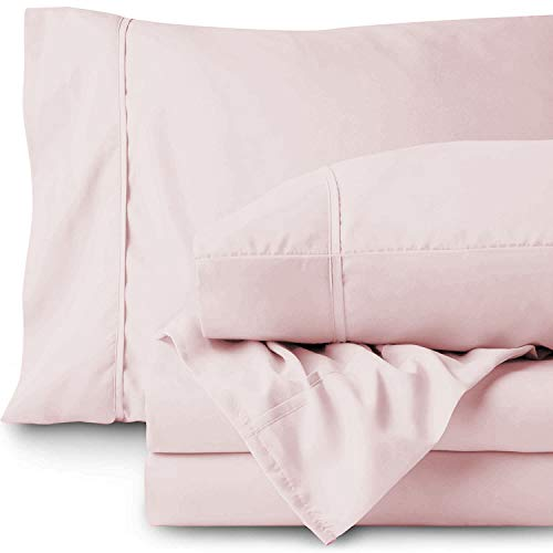 800 Thread Count 100% Cotton BedSheet and Pillowcase Set - 4 Pcs Sheet Set Light Pink Cal-King Size Long Staple Cotton Fits Mattress Up to 21'' Deep Pocket Soft & Cozy Cotton, Luxury Bedding