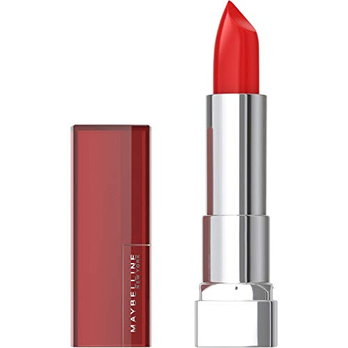 Maybelline Color Sensational Lipstick, Lip Makeup, Cream Finish, Hydrating Lipstick, Nude, Pink, Red, Plum Lip Color, Red Revival, 0.15 oz. (Packaging May Vary)